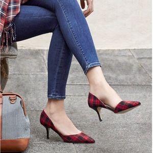 Sole society plaid red black printed pumps heels
